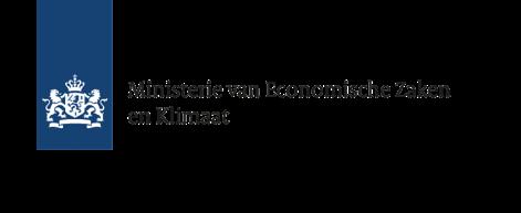 Logo Rijksoverheid met de 2 leeuwen en schild, daarnaast Ministerie van Economische Zaken en Klimaat