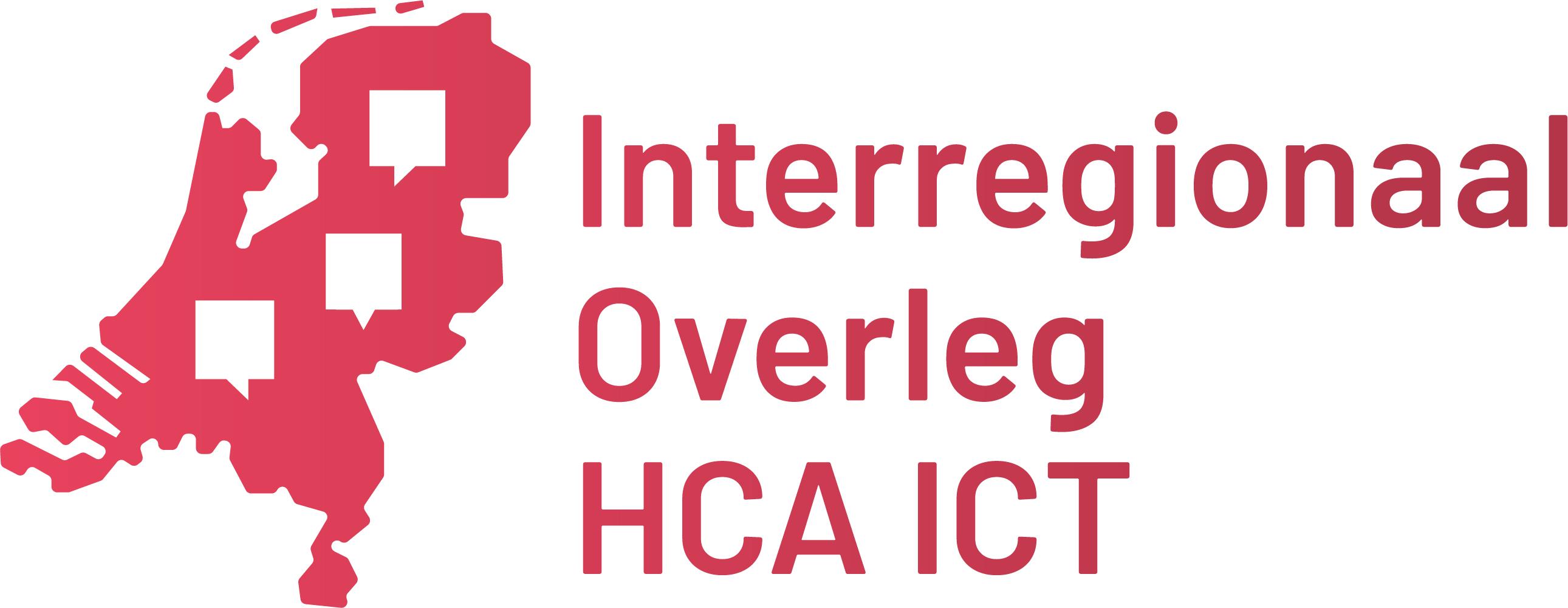 Logo Interregionaal overleg HCA ICT Kaart van Nederland met tekstballonnen erin om het overleggen met elkaar te illustreren