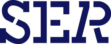 Logo Sociaal economische raad blauwe hoofdletters S E R