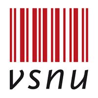 Logo VSNU Verticale rode dikke en dunne strepen met daaronder in zwarte hoofdletters VSNU