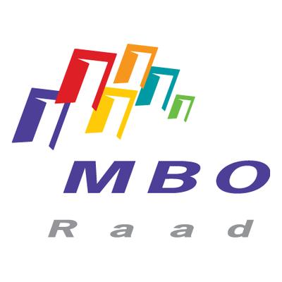 Logo MBO Raad met bovenaan in 6 verschillende kleuren symbolen die gebouwen illustreren