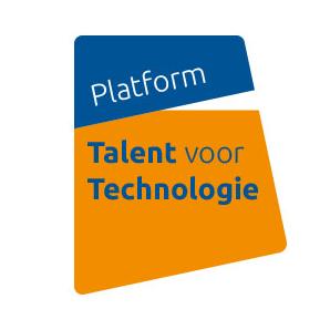 Logo Platform talent voor technologie blauw blokje met tekst Platform met daaraan vast oranje blokje met Talent voor Technologie