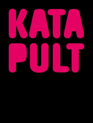 Logo katapult roze hoofdletters Katapult met zin eronder aanjagers van de kennis voor morgen