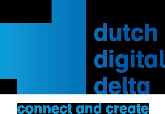 Logo Dutch digital delta, groot blauw vlak lijkend op de letter D met daarnaast tekst in blauw dutch digital delta met daaronder connect and create