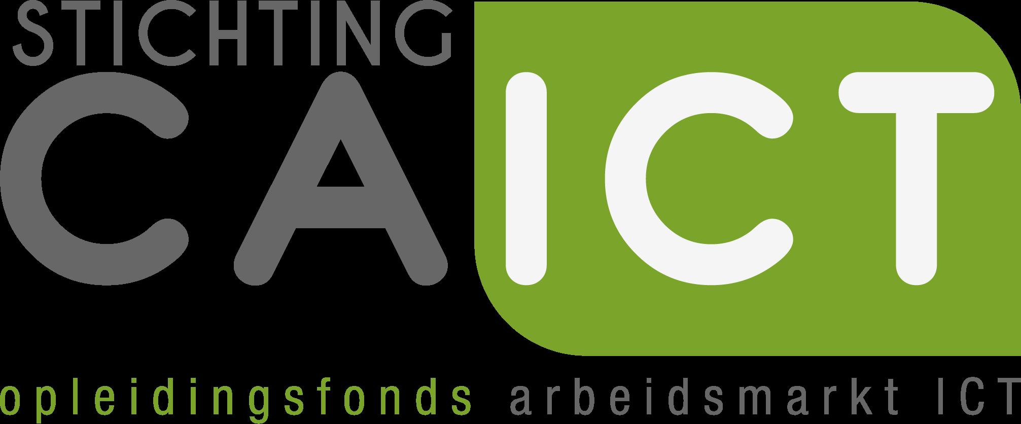 Logo CA ICT Stichting CA ICT in hoofdletter ICT in groen vlakje met daaronder de tekst opleidingsfonds arbeidsmarkt ICT